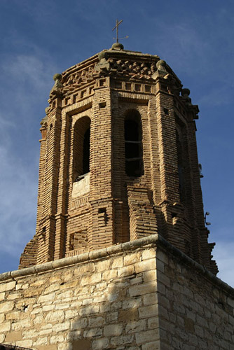 Torre de ladrillo de la Iglesia parroquial de la Inmaculada Concepción.