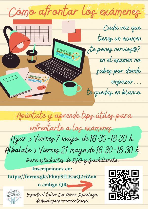 Cartel taller 'Cómo afrontar los exámenes'