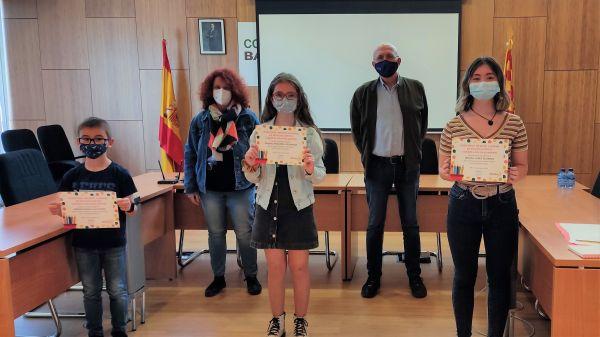 L@s ganadores con el presidente de la Comarca Narciso Pérez Vilamajo y la vicepresidenta Ana Guevara Anguita